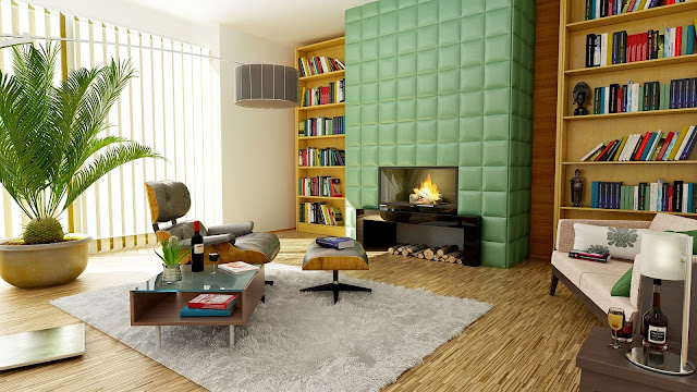 Bookcase Apartment Modern Study Room HD Wallpaper