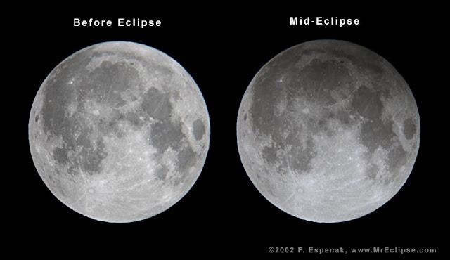 So sánh bề mặt Mặt Trăng trước và trong khi xảy ra Nguyệt thực nửa tối ngày 20/11/2002. Hình ảnh: Fred Espenak.