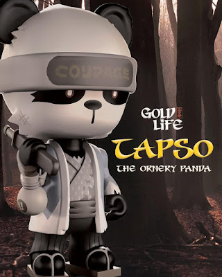 "Tapso the Ornery Panda 8"" Gold Life Vinyl Figure by Huck Gee x Mighty Jaxx"