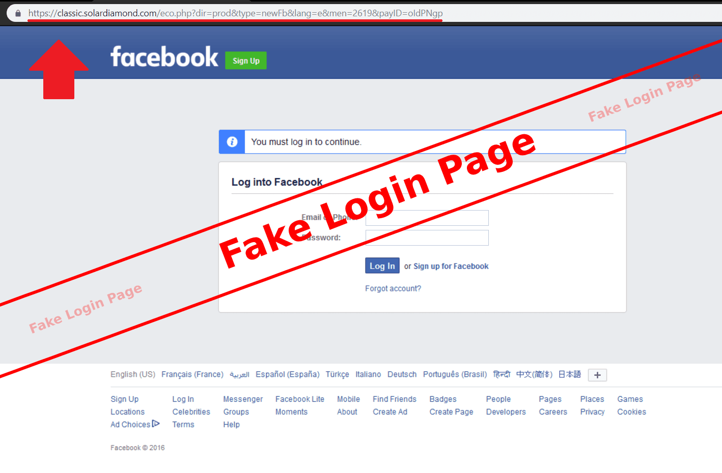 Beware Facebook users! Hackers could use Fake login pages to trick you to steal your login information