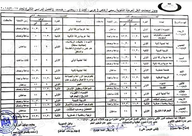 جدول امتحانات محافظة بنى سويف 2018 الترم الثانى (للثانوية والاعدادية والابتدائية) اخر العام