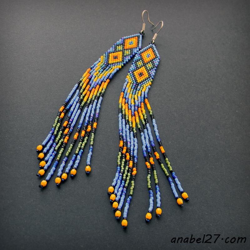 Длинные бисерные серьги в этническом стиле
