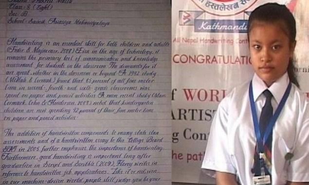 Gadis 8 tahun ini disebut punya tulisan tangan tercantik sedunia, membaca kepribadian orang cukup lewat tulisan?