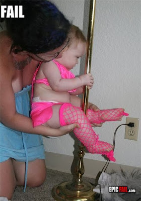 Fail baby dressed in stripper clothes, Mom holding her on pole
