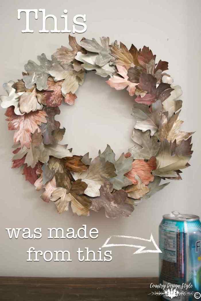 10  maneras creativas de reciclar latas, corona decorativa.