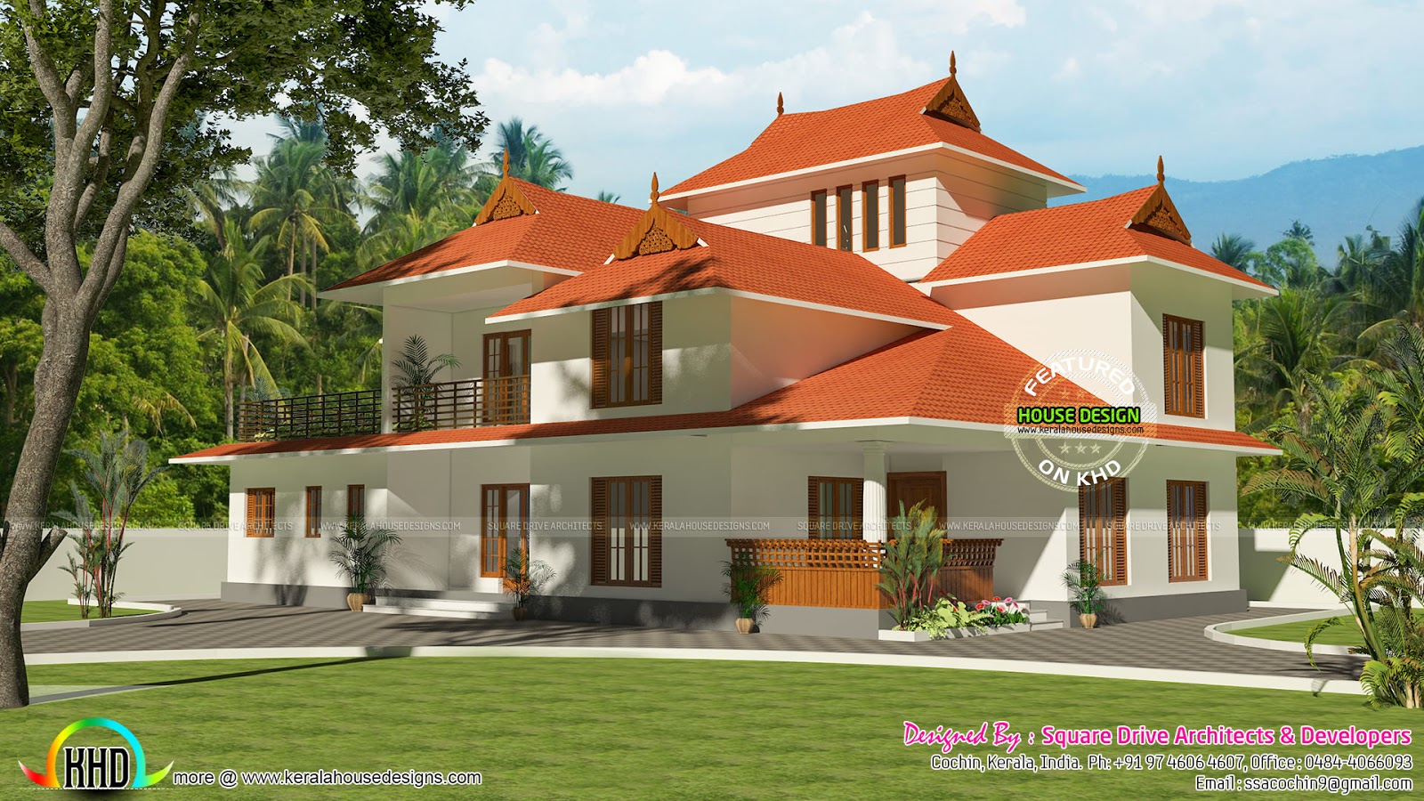 Traditional 4 bedroom home 3738 sq ft kerala home design for Traditional home designs kerala