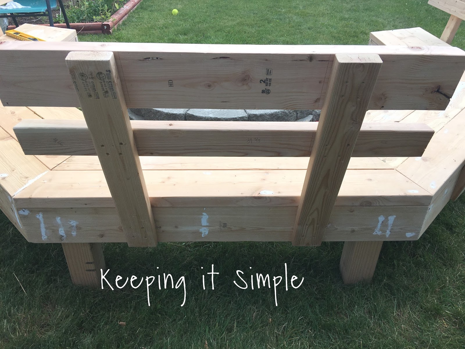 Diy fire pit bench with step by step insructions keeping it simple crafts Fire pit benches
