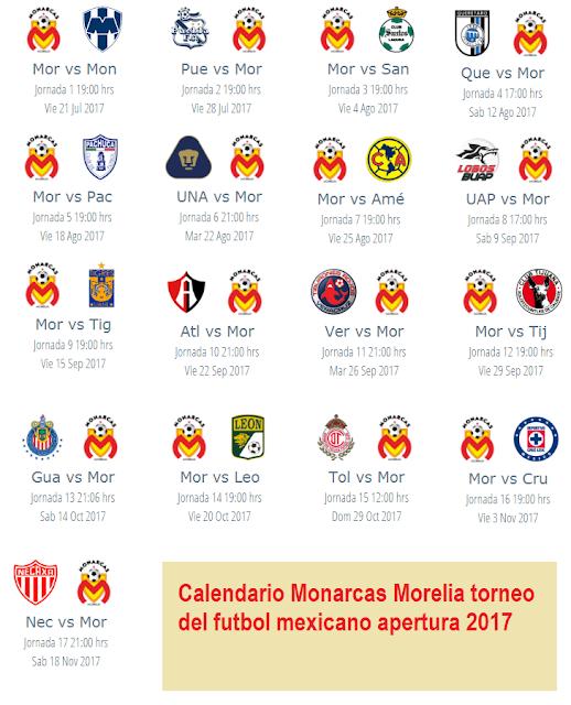 Calendario del Morelia para el apertura 2017 del futbol mexicano