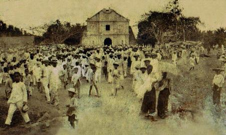 Undated old photo of Caracol Church in Rosario Cavite