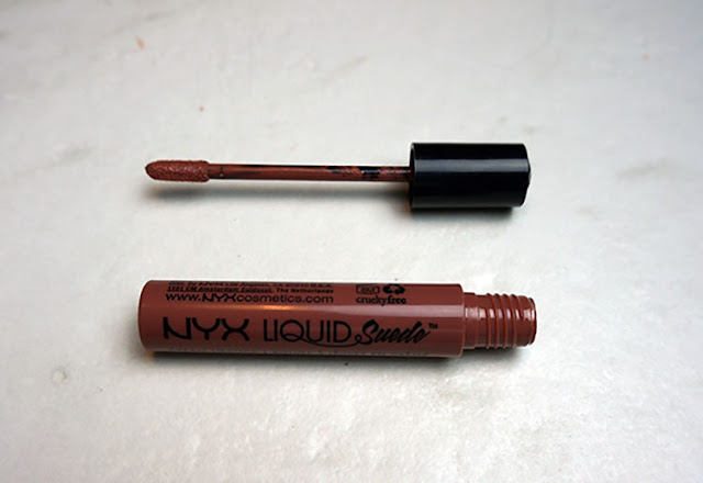 nyx cosmetics liquid suede cream lipstick in soft spoken
