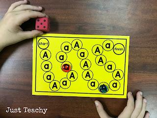 Alphabet Board Games, www.JustTeachy.blogspot.com