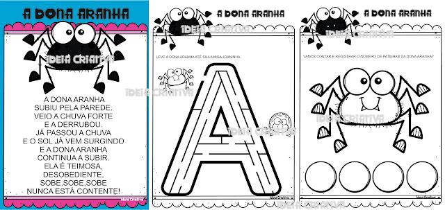 Atividades Dona Aranha Projeto Músicas Infantis para baixar grátis e imprimir