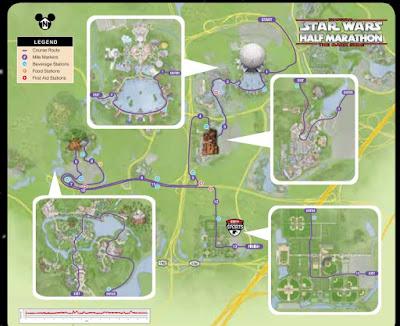 map of Star Wars half marathon running race course