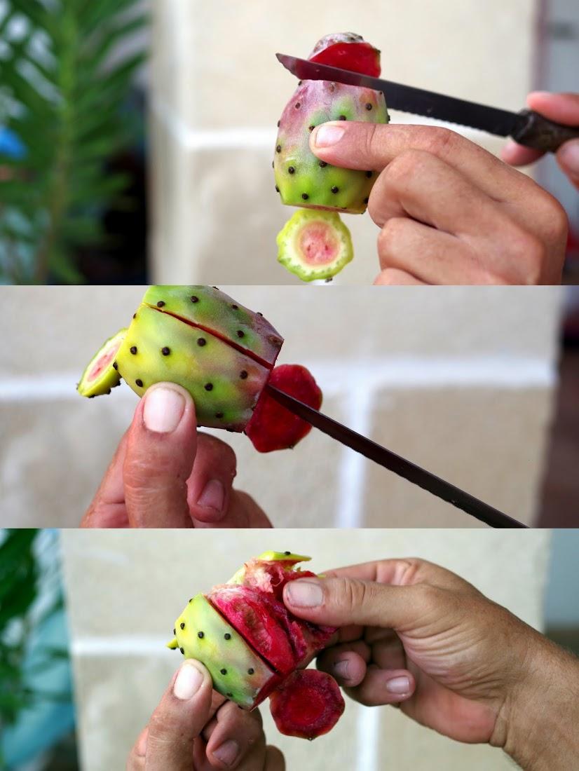 wie schält man Kaktusfeigen