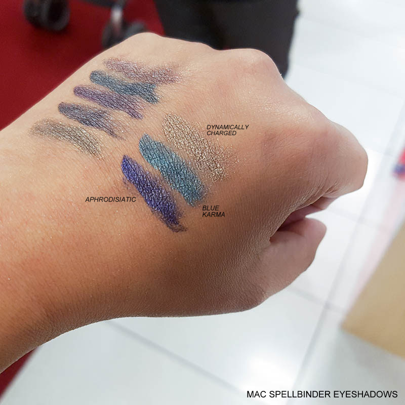 MAC Spellbinder Eyeshadows Swatches - Aphrodisiatic - Dynamically Charged - Blue Karma