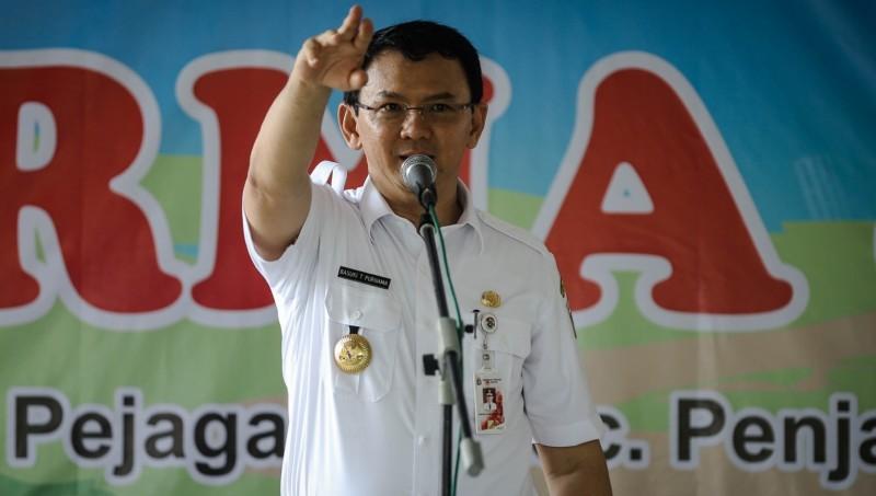Ahok memberi sambutan pada peresmian RPTRA di Pejagalan, Jakarta