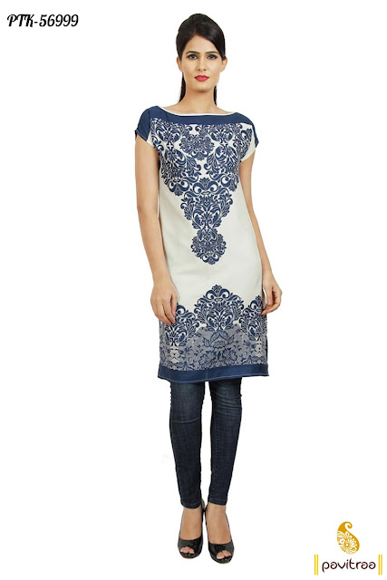 blue off white cotton ladies wear casual kurti tunic dress for young college gilrs at cheap rates in Surat India