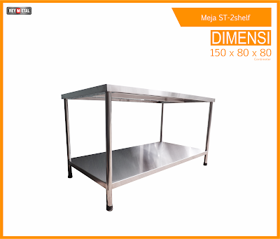 meja stainless 2 shelf kuat beban 250Kg