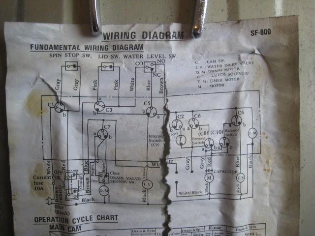 Hitachi SF-800 washing machine - wiring diagram on