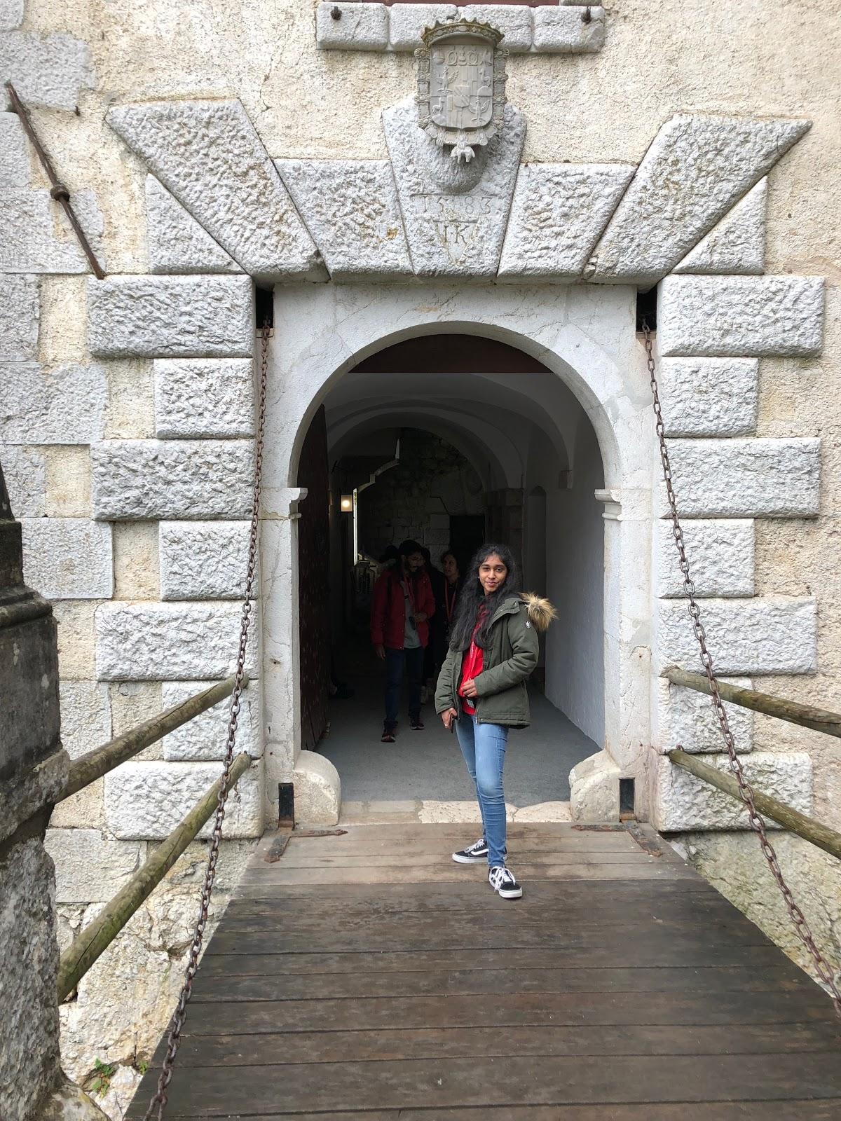 Mini draw bridge in the entrance of the Predjama Castle