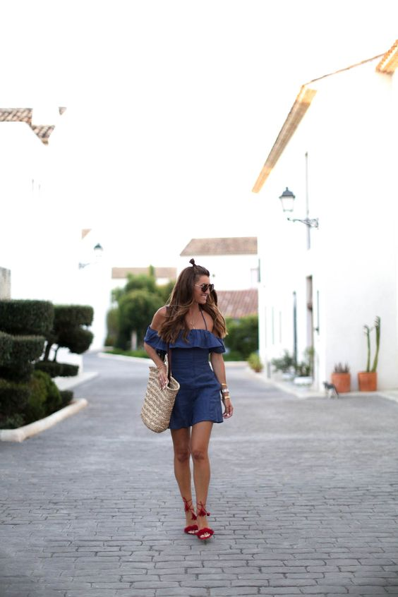 Bartabac - Off shoulder denim ruffle dress + red lace up tassel heels