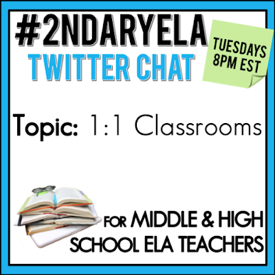 Join secondary English Language Arts teachers Tuesday evenings at 8 pm EST on Twitter. This week's chat will be about teaching in 1:1 classrooms.