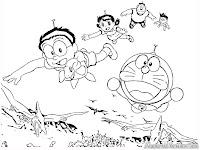 Doraemon Coloring Pages Printable Doraemon Dan Kawan Kawan Terbang Dengan Baling Baling Bambu