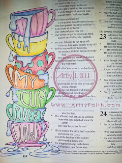 Artsy Faith original artwork from Psalm 23 in Journaling Bible.