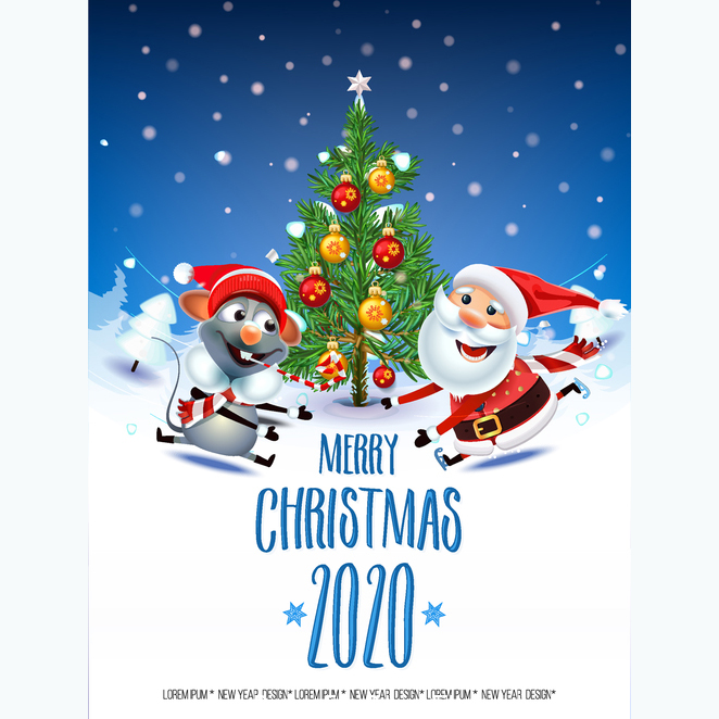 Merry Christmas Year of the mouse christmas and santa claus cartoon greeting card free vector