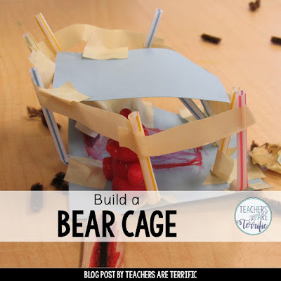 STEM Challenges for first graders work perfectly after reading a book! This blog post is about building bear cages!