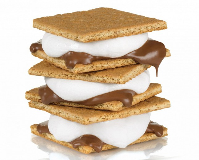 Smore Fun Facts: A smore (sometimes spelled s'more) is a traditional nighttime campfire treat popular in the United States and Canada, consisting of a roasted marshmallow and a layer of chocolate sandwiched between two pieces of graham cracker.