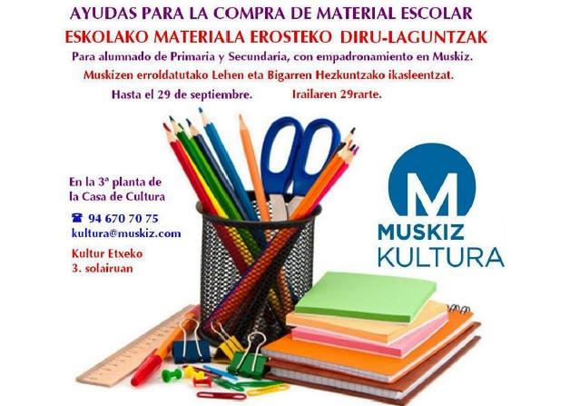 Muskiz destina 20.000 euros a ayudas para la compra de material escolar