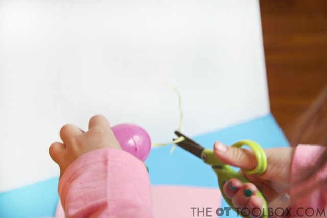 Scissor skills Easter activity for helping kids learn to cut with scissors
