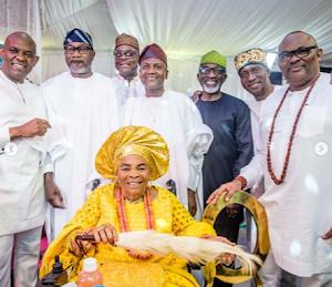 See Beautiful Photos Of Ooni of Ife, Billionaires Dangote, Otedola At Tony Elumelu's Mother's 90th Birthday Party