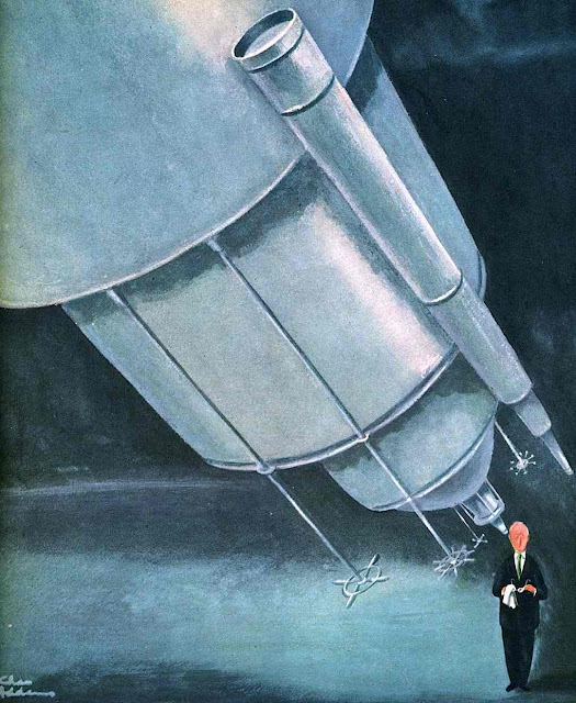 Charles Addams color cartoon giant telescope