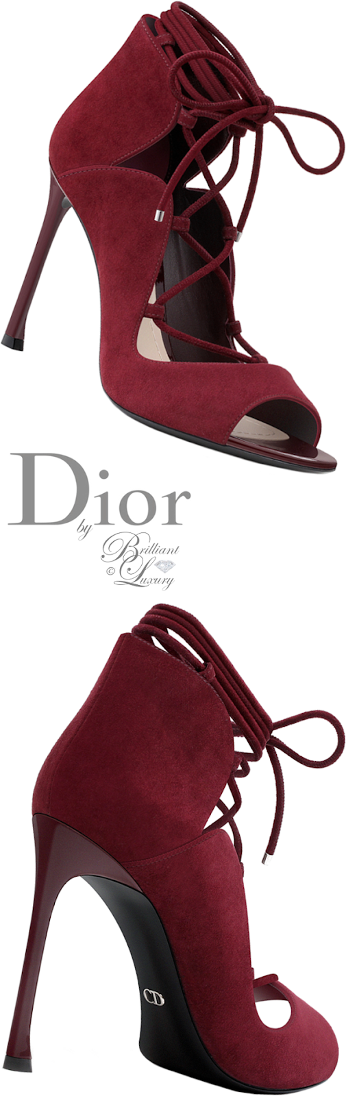 Brilliant Luxury ♦ Dior burgundy suede calfskin sandal