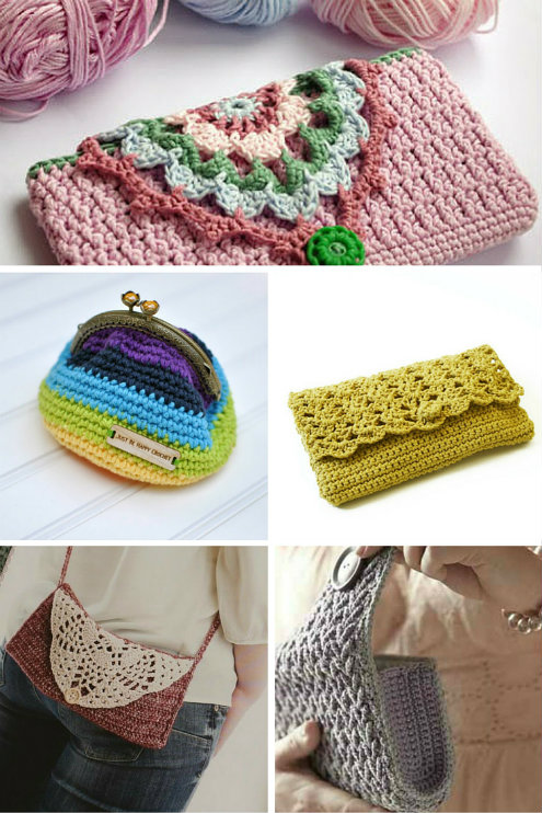 Crochet purses, 5 patterns | Happy in Red