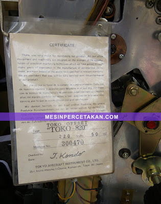 Toko 820 Certificate