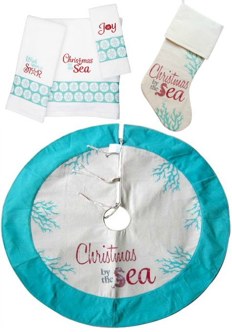 Christmas by the Sea in Coral Turquoise | Towels, Stockings, Tree Skirt