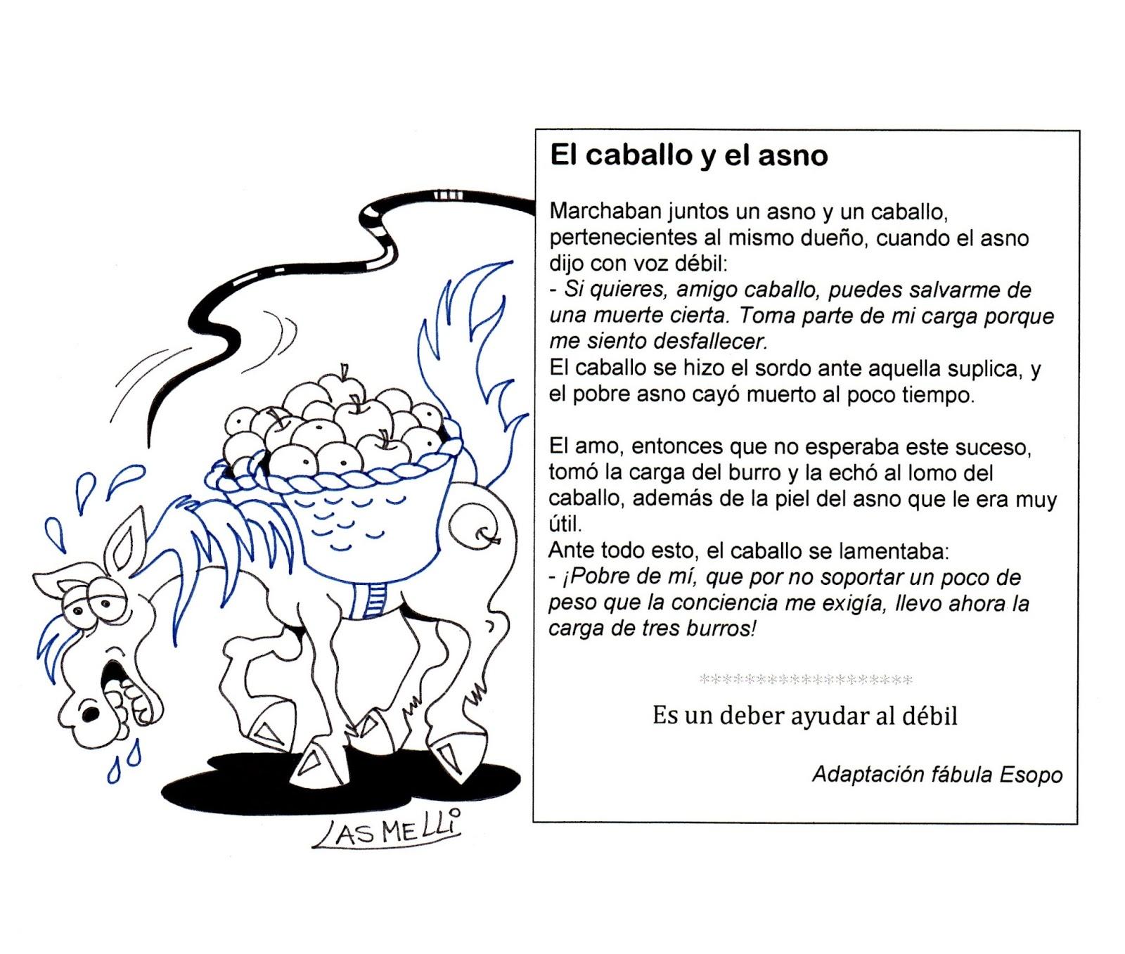 El Rincón de las Melli: FÁBULA: El caballo y el asno (para colorear ...