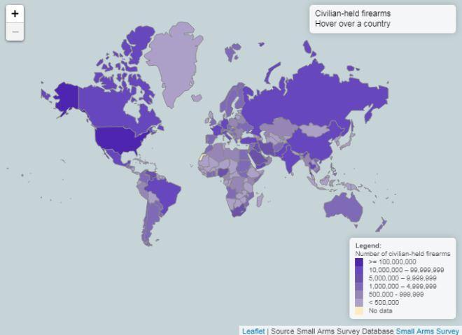 Peta senjata api yang dimiliki oleh sipil di seluruh dunia