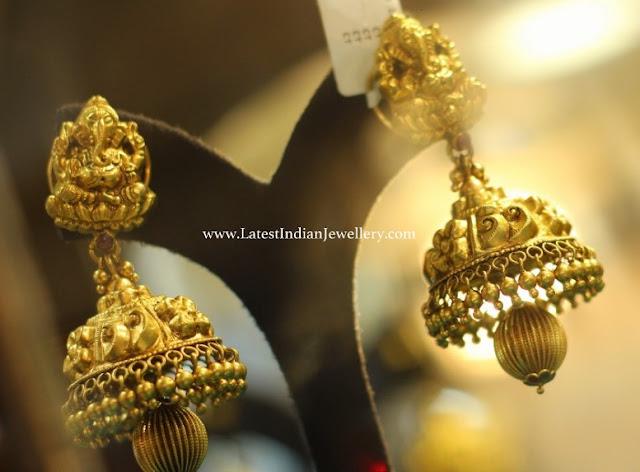 Ganesh Design Gold Jhumkas