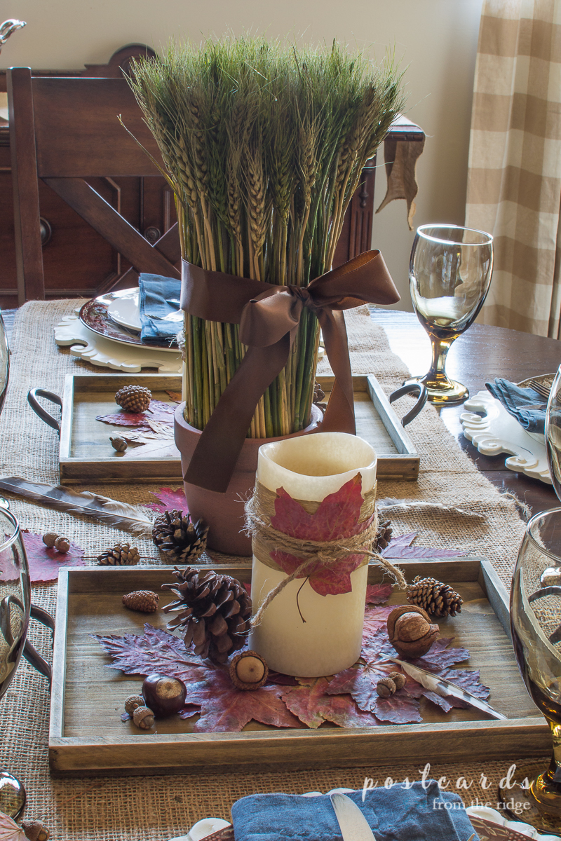 Such a pretty, rustic, and simple centerpiece. Love it.