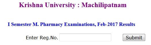 Krishna University M.Pharm 1st Sem Results 2017
