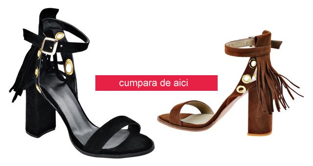 Sandale elegante din piele intoarsa negre, maro cu toc gros