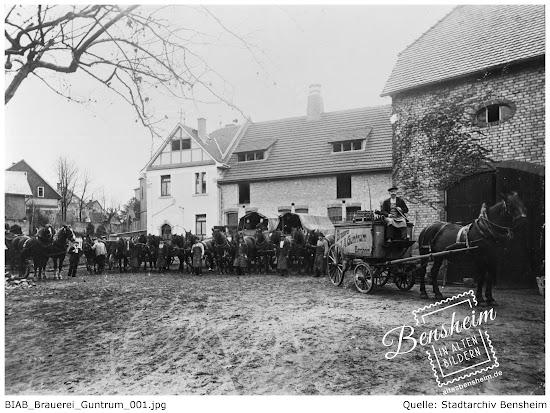 Guntrum Brauerei Bensheim, Außen- und Innenaufnahmen um 1910, bearbeitet Stoll-Berberich 2016, Quelle: Stadtarchiv Bensheim