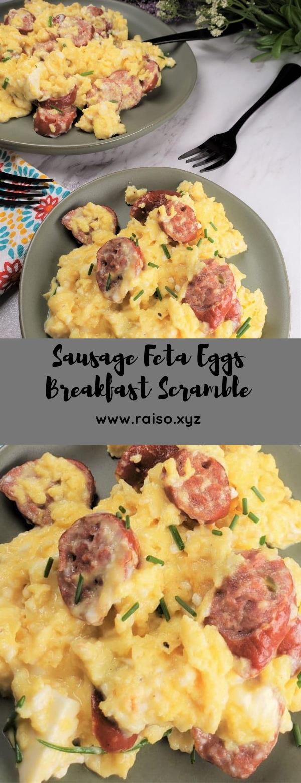 Sausage Feta Eggs Breakfast Scramble #breakfast #lowcarb #keto