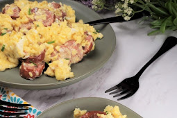 Sausage Feta Eggs Breakfast Scramble