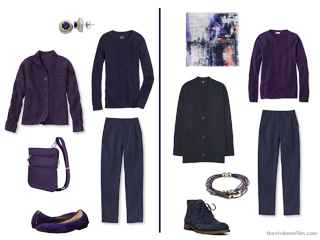 Capsule wardrobe colour palette inspiration - a pinch of plum with navy