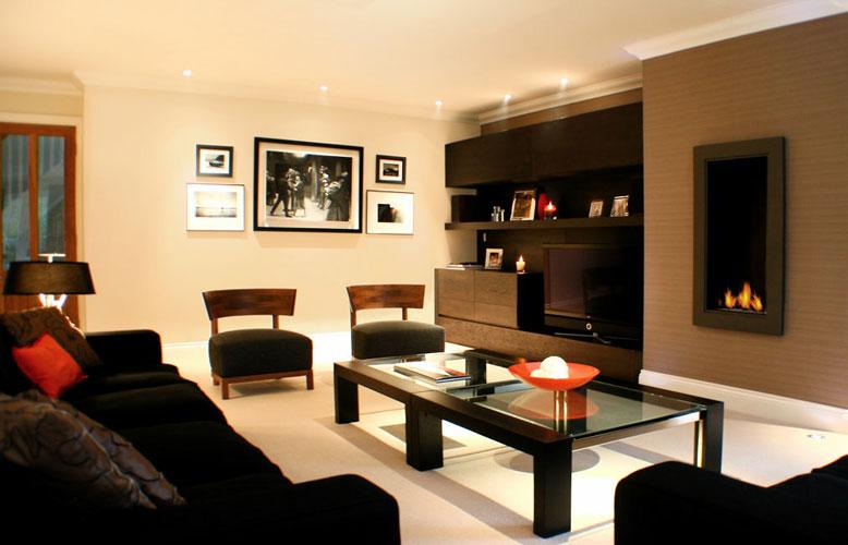 black white small living room interior